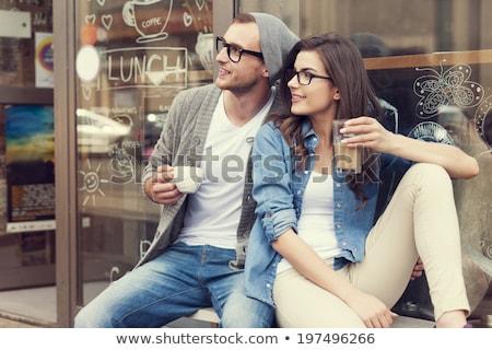 пару сидят кафе за пределами парень девушки Сток-фото © tekso