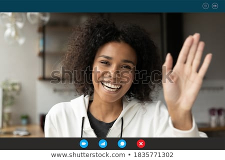 Vrouw interface scherm witte werken zwarte Stockfoto © wavebreak_media
