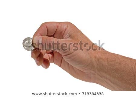 Kéz tart negyed érme izolált fehér Stock fotó © pancaketom