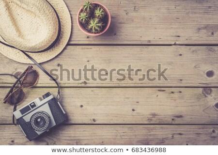 Travel accessories on wooden table Stock photo © wavebreak_media