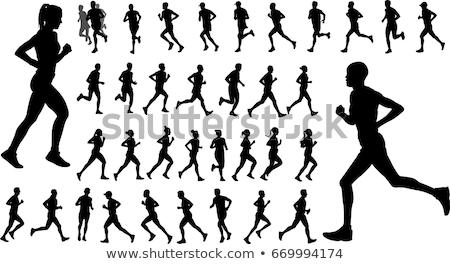 Silhouette Runner Sprinting or Running Stock photo © Krisdog