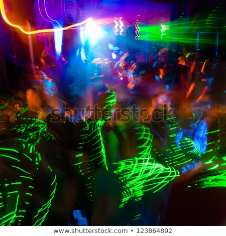 homályos · emberek · tánc · hab · buli · éjszaka - stock fotó © disobeyart