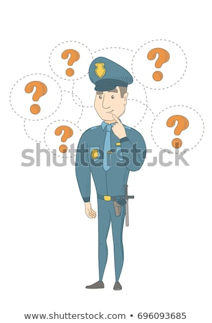 Young caucasian policeman with question mark. Stock photo © RAStudio