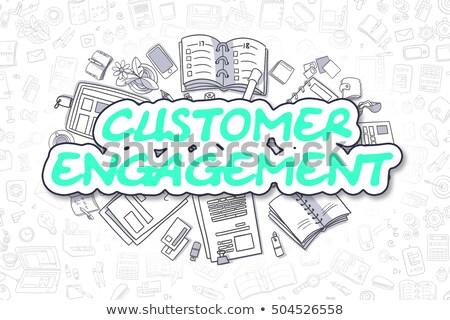 Klienta zaręczynowy gryzmolić zielone tekst działalności Zdjęcia stock © tashatuvango