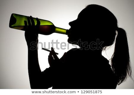 Sziluett szokás dohányzás ártalmas űrlap kéz Stock fotó © Olena