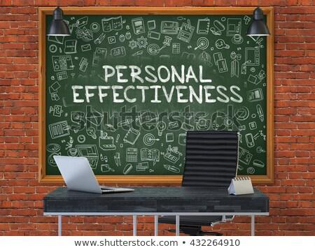 Groene schoolbord persoonlijke produktiviteit doodle Stockfoto © tashatuvango