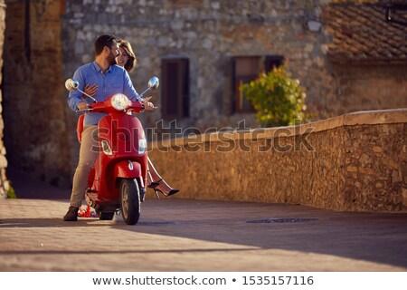 Nő motor moped vásárlás jókedv mosolyog Stock fotó © IS2