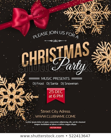Vector Merry Christmas Night Party Illustration with Holiday Typography Elements and Red Ornamental  stock photo © articular