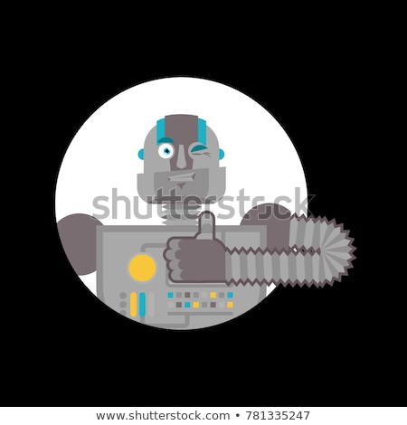 Robot thumbs up and winks. Cyborg happy emoji. Robotic man Vecto Stock photo © popaukropa