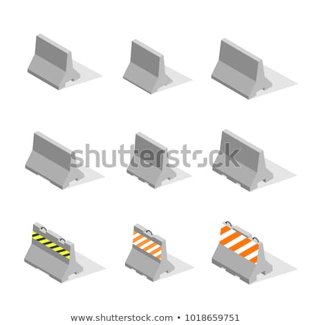 Set of iron concrete road barriers in 3D, vector illustration. Stock photo © kup1984