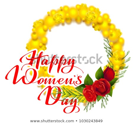 happy womens day text greeting card yellow mimosa and red rose flower acacia flower wreath symbol stock photo © orensila