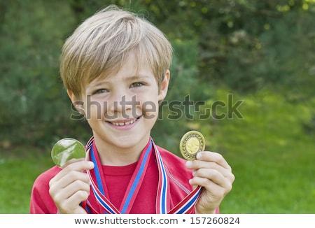 drei · Medaillen · isoliert · weiß · Business · Sport - stock foto © is2