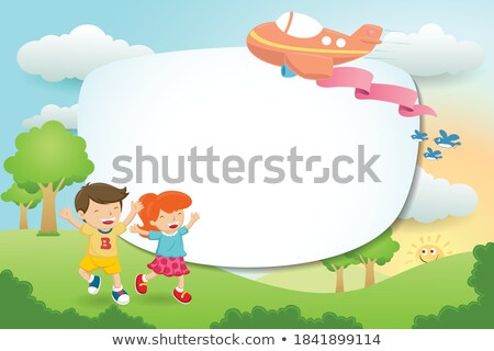 border template with bird and baby in park stock photo © bluering