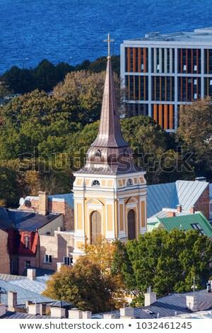 Kilise Riga Letonya mavi seyahat ufuk çizgisi Stok fotoğraf © benkrut