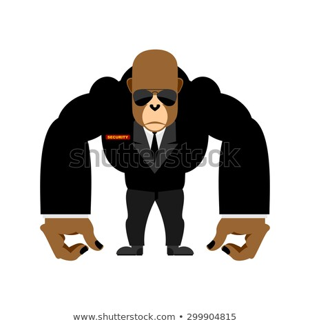 Security guard big gorilla  black suit. Bodyguard animal. Vector Stock photo © popaukropa