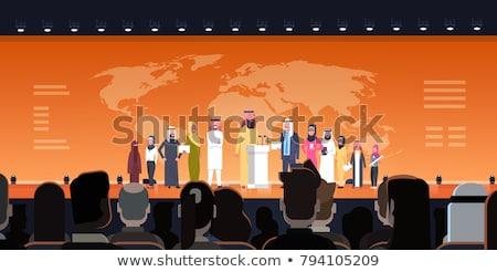 Arapça işkadını konuşma başörtüsü kurumsal iş adamları Stok fotoğraf © studioworkstock