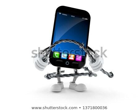 Dikenli tel telefon yalıtılmış beyaz pop art Retro Stok fotoğraf © studiostoks