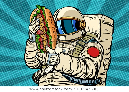Astronauta hot dog ulicy fast food pop art retro Zdjęcia stock © studiostoks