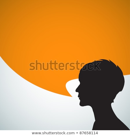 Speakers silhouettes with speech bubbles Stock photo © orson