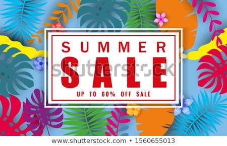 Summer Sale Design with Flower and Beach Holiday Elements on Blue Background. Tropical Floral Vector Stock photo © articular