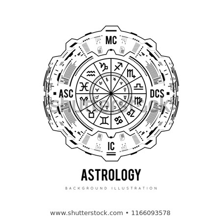 Stock photo: Astrology background. Natal chart, zodiac signs, houses and significators. HUD Interface futuristic