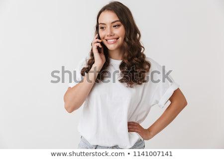 işkadını · ayakta · telefon · beyaz · takım · elbise · konuşma - stok fotoğraf © feedough