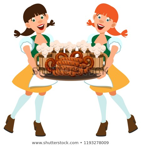 Two German women waitress holding tray with beer and sausages Stock photo © orensila