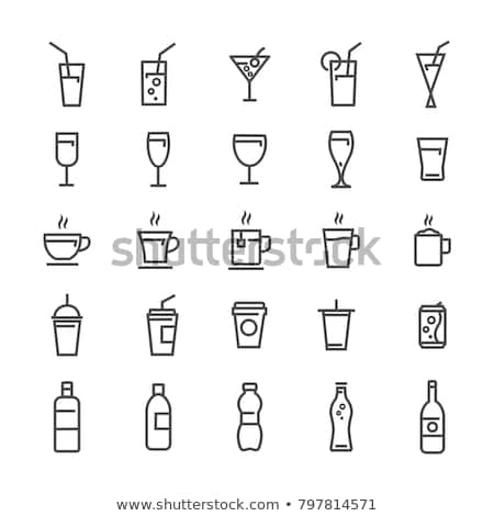 alcohol drinks flat vector icons glass cocktails stock photo © robuart