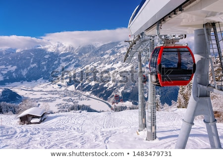 Skiër ski lift illustratie man natuur Stockfoto © adrenalina