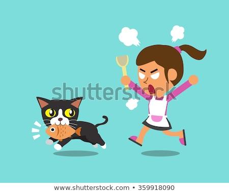 Cartoon arrabbiato ladro gattino guardando Foto d'archivio © cthoman