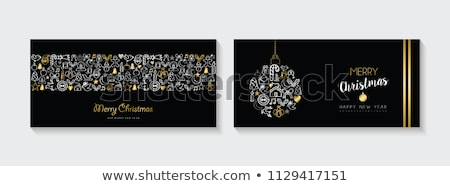 christmas and new year gold outline card set stock photo © cienpies