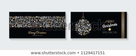 vrolijk · christmas · gelukkig · nieuwjaar · collectie · goud · Rood - stockfoto © cienpies