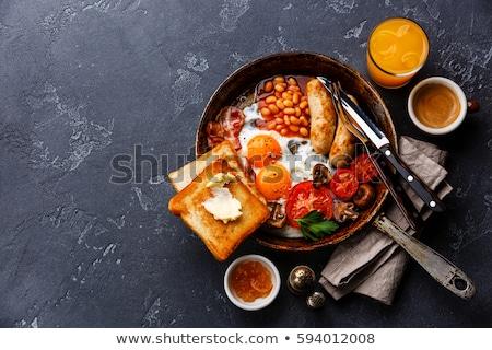 Tele angol reggeli felszolgált serpenyő sült Stock fotó © dash