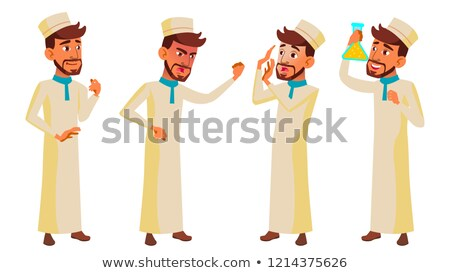 Teen Boy Poses Set Vector. Arab, Muslim. Pretty, Youth. For Postcard, Announcement, Cover Design. Is Stock photo © pikepicture