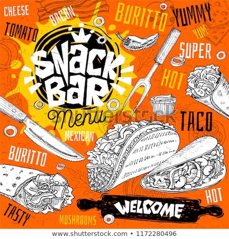 Taco with Hamburger Tasty Snack Vector Poster Stock photo © robuart
