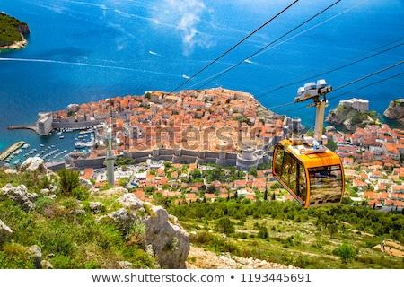 Történelmi város Dubrovnik légi panorámakép kilátás Stock fotó © xbrchx