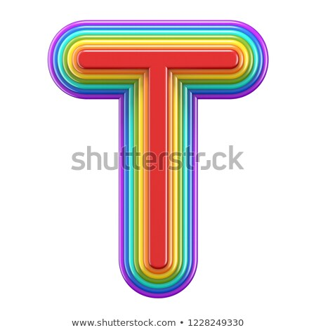 Koncentrikus szivárvány betűtípus t betű 3D renderelt kép Stock fotó © djmilic