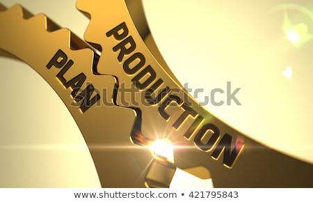 Stock fotó: Gyártás · terv · arany · sebességváltó · 3d · illusztráció · illusztráció