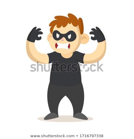 Zły cartoon chłopca włamywacz ilustracja patrząc Zdjęcia stock © cthoman