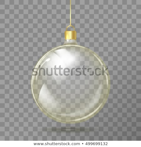 Blue Christmas ball. Xmas glass ball on transparent background. Holiday decoration template. Vector  Stock photo © olehsvetiukha