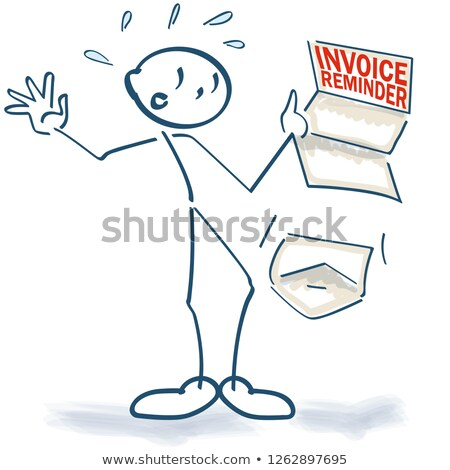 Stick figure with a sudden invoice reminder as another bill Stock photo © Ustofre9
