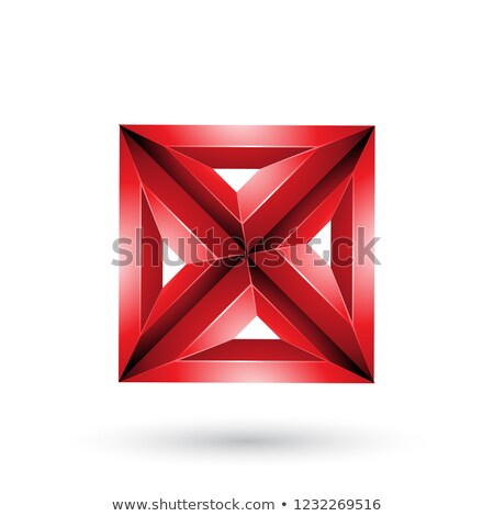 Stock photo: Red 3d Geometrical Embossed Square and Triangle X Shape Vector I