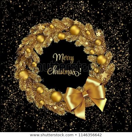 Рождества сосна венок золото орнамент карт Сток-фото © cienpies
