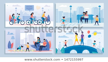 kids play and walk in park cartoon banner set stock photo © robuart