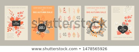 set of sale adverts with autumn foliage and leaves stock photo © robuart