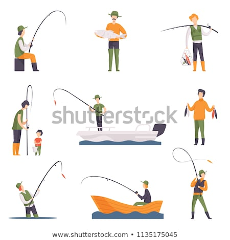 Fishing People in Wooden Boat Vector Illustration Stock photo © robuart