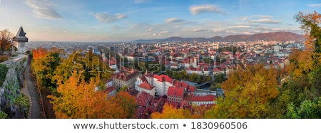 Stock photo: Uhrturm landmark and Graz cityscape aerial view
