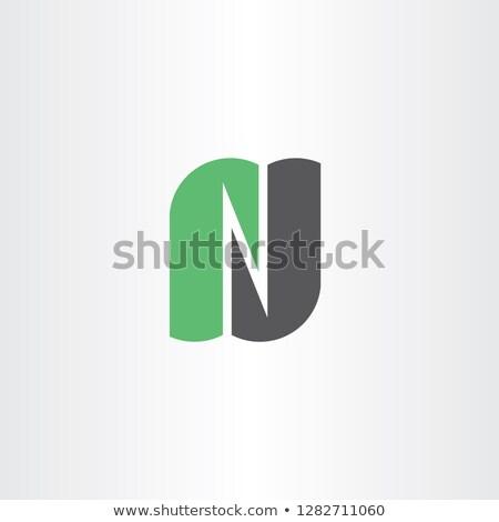 light green gray n logo letter vector icon logotype Stock photo © blaskorizov