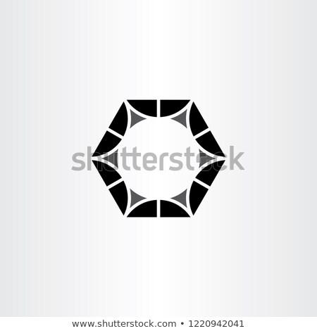Metal noz preto hexágono logotipo símbolo Foto stock © blaskorizov