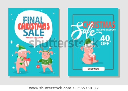 christmas sale 40 percent holiday discount pigs stock photo © robuart